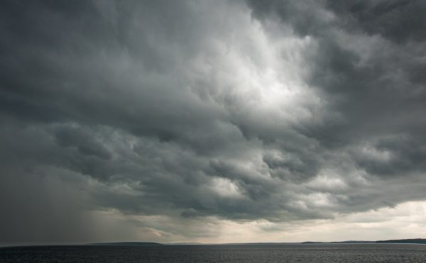 heavy gray storm clouds over Penobscot Bay