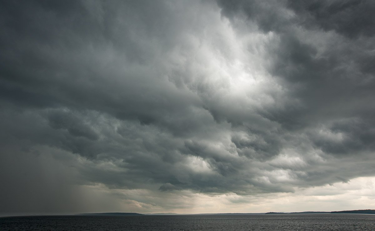 heavy gray storm clouds over Penobscot Bay