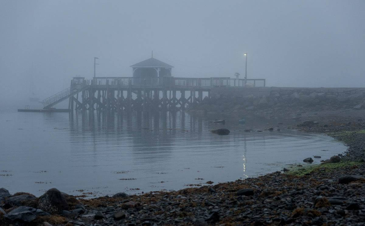 Bayside dock softened by fog early in the morning