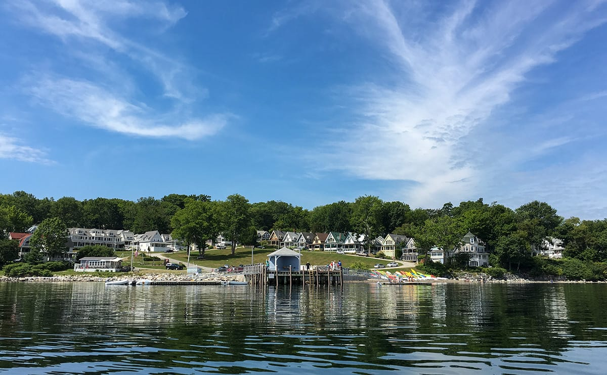 Bayside's dock and Park Row from the harbor