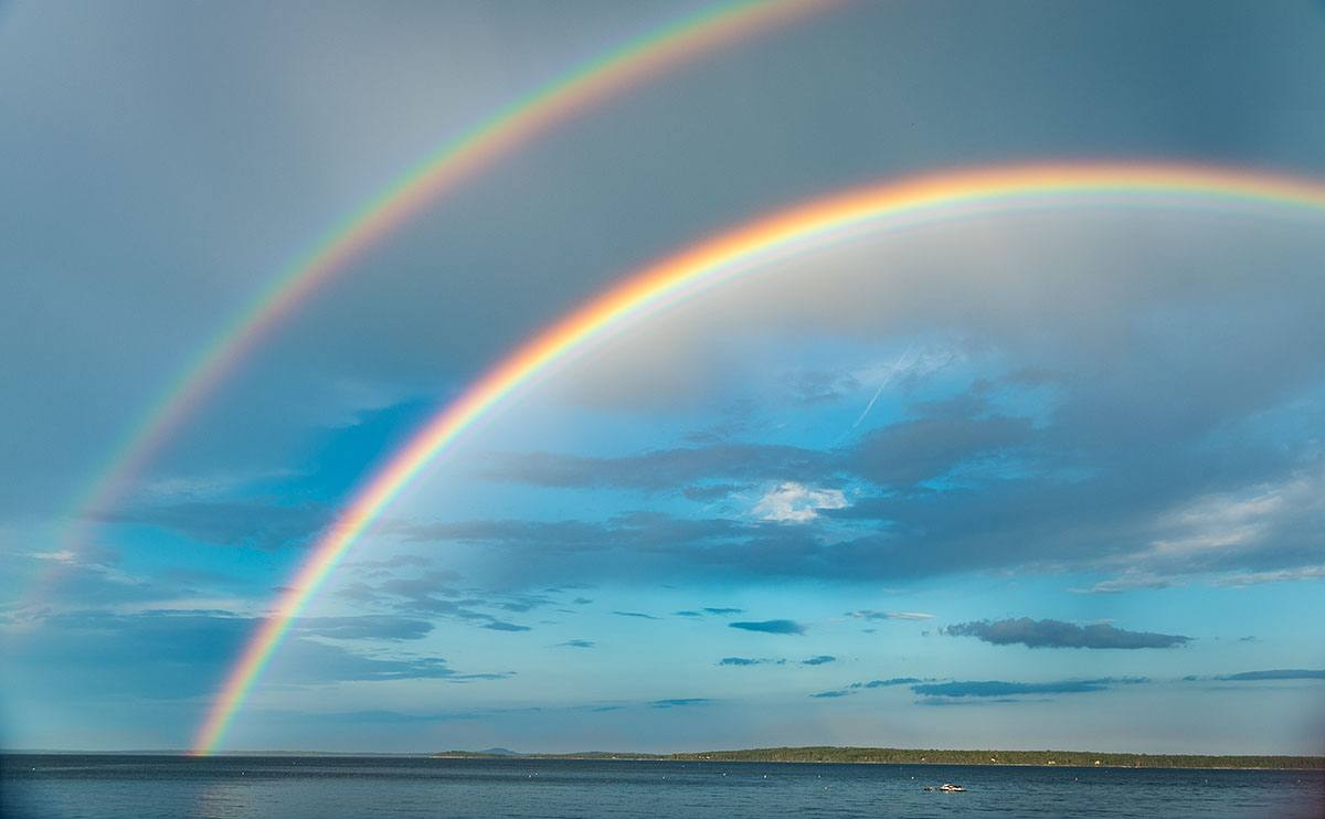 double rainbow over Islesboro, Penobscott Bay